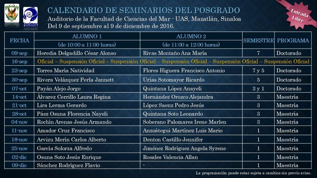 Calendario seminario 2016