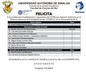 Felicitación SNI 2016 POSGRADO FACIMAR